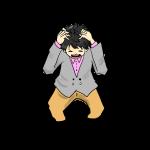 頭を抱える男性(背景透明PNG)