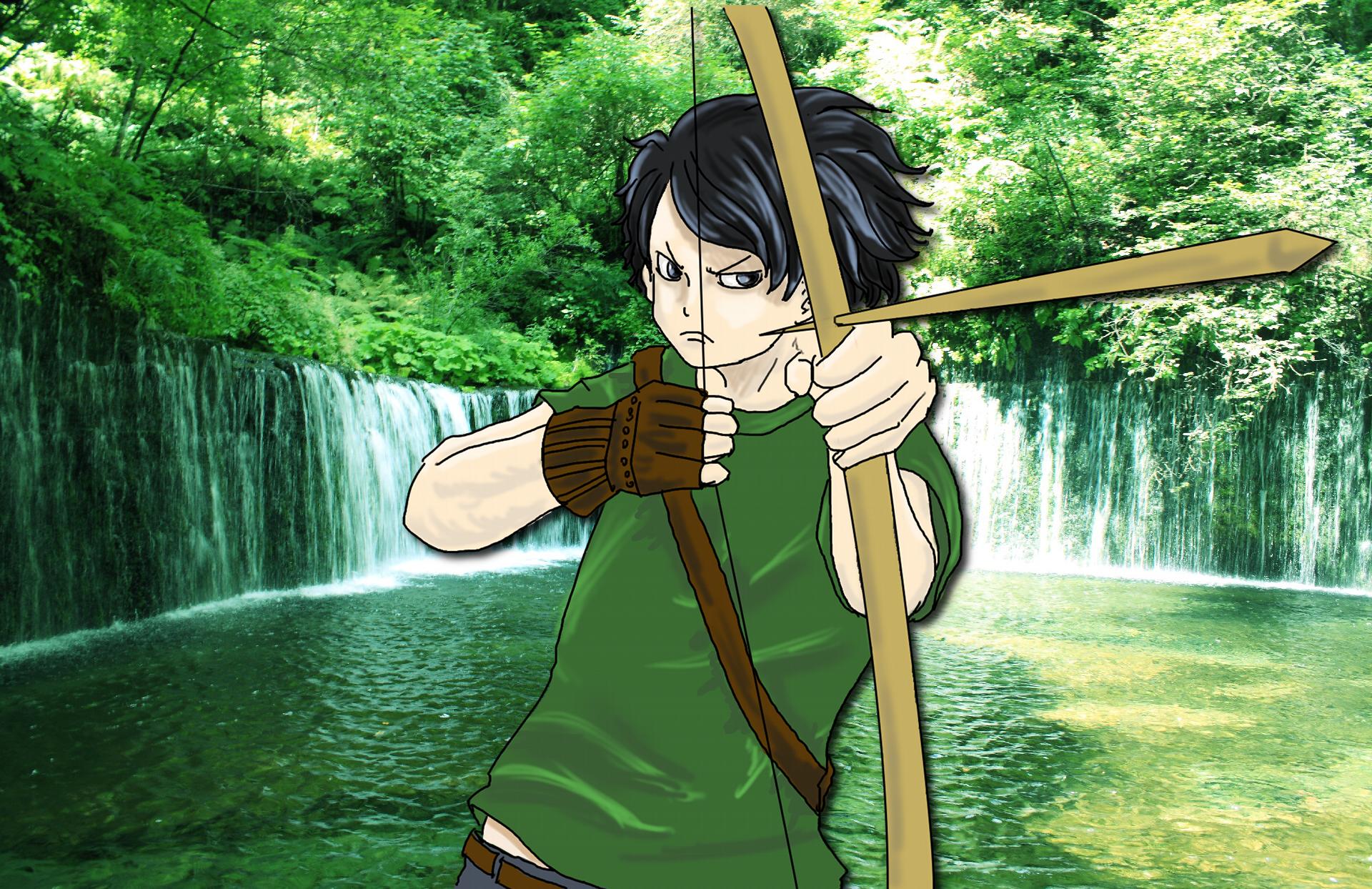 弓矢をもつ青年