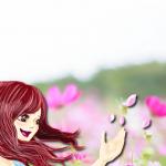 花びらを飛ばす