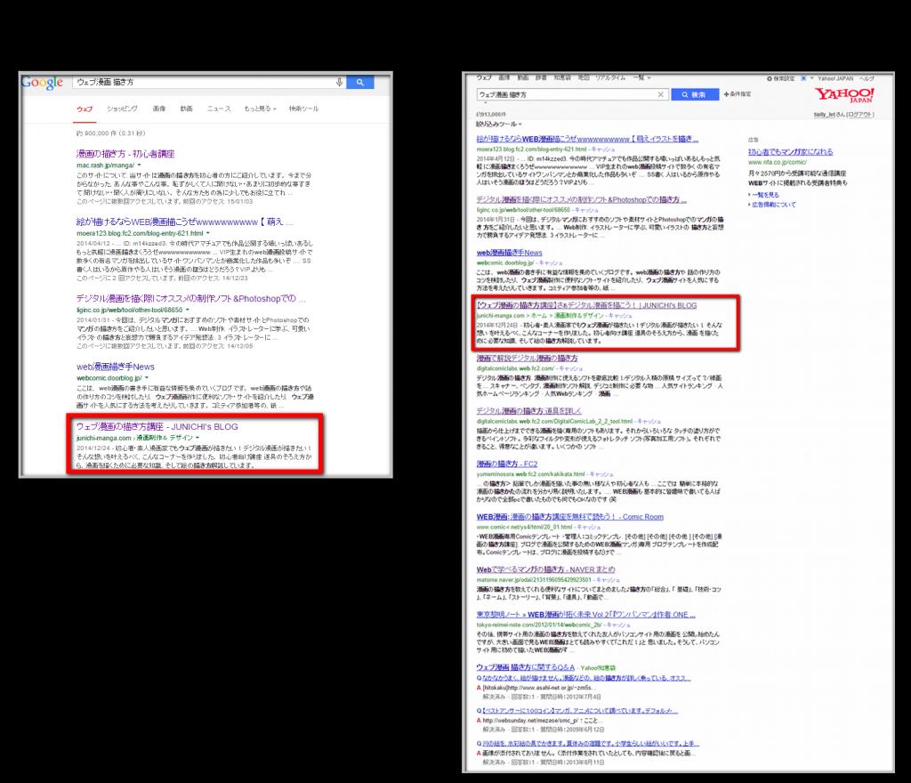 検索結果の違い