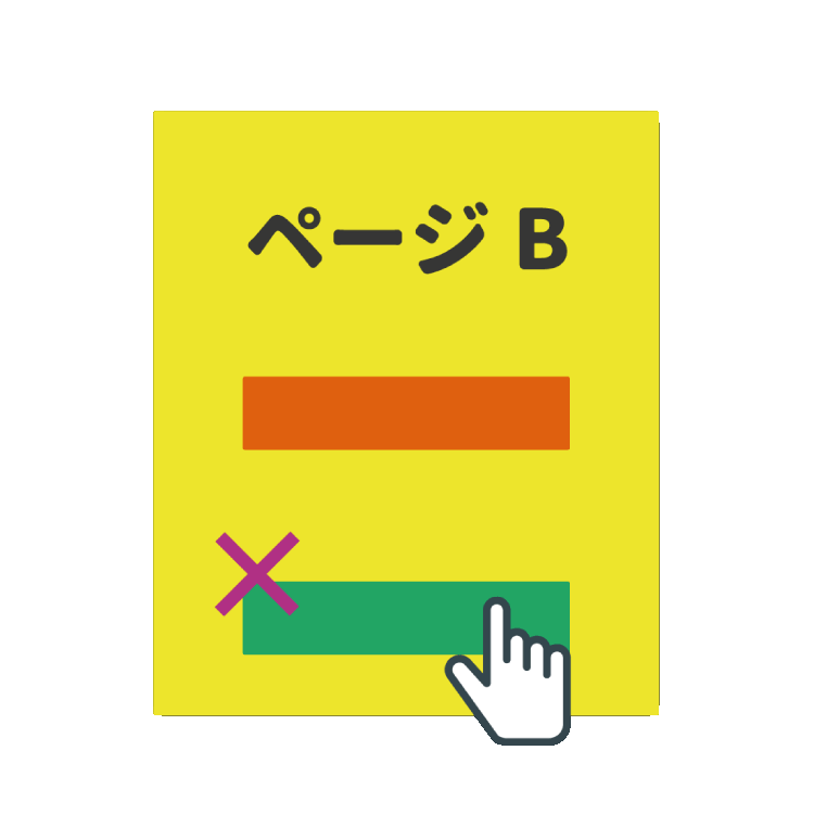 ページBの緑のボタン